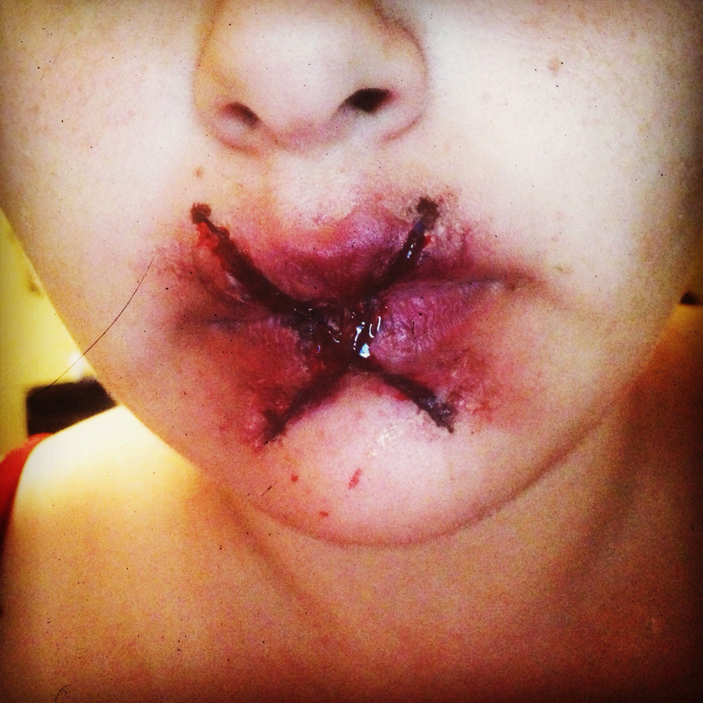 Stitched Up Lip | Cosplay/Special Effects Makeup | Pinterest