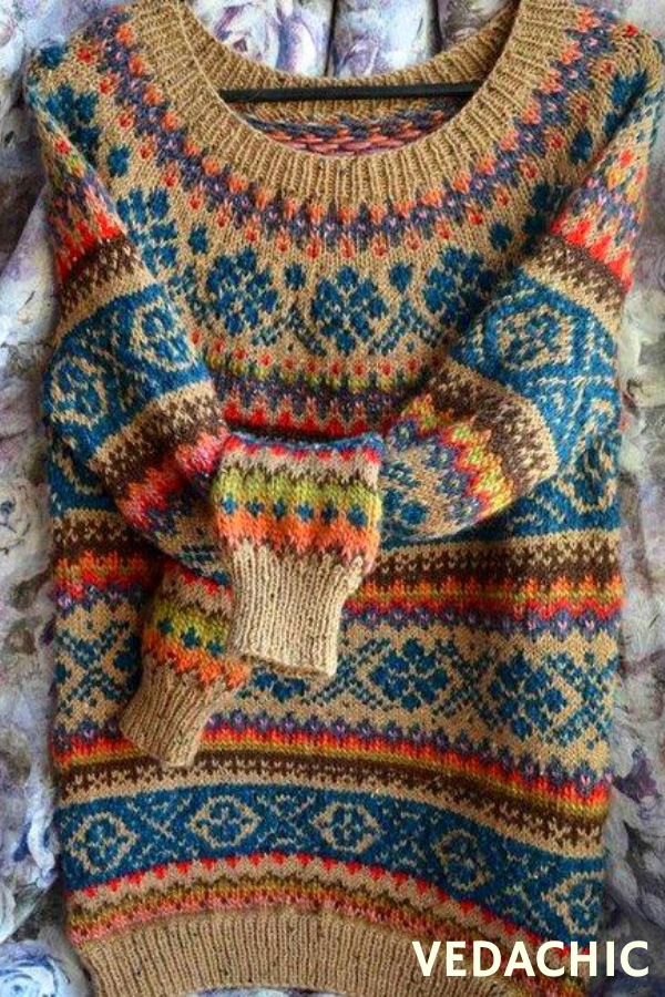 Multicolour Round Neck Standard Loose Knitted Pattern Sweater
