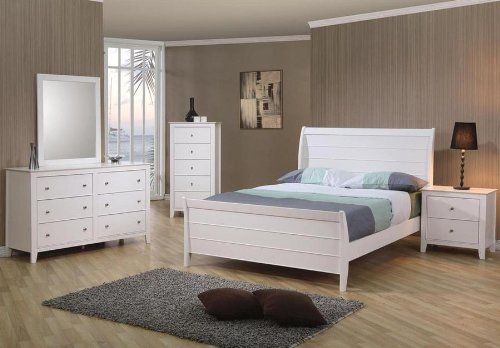 4pc Full Size Sleigh Bedroom Set Cape Cod Style in White Finish ...