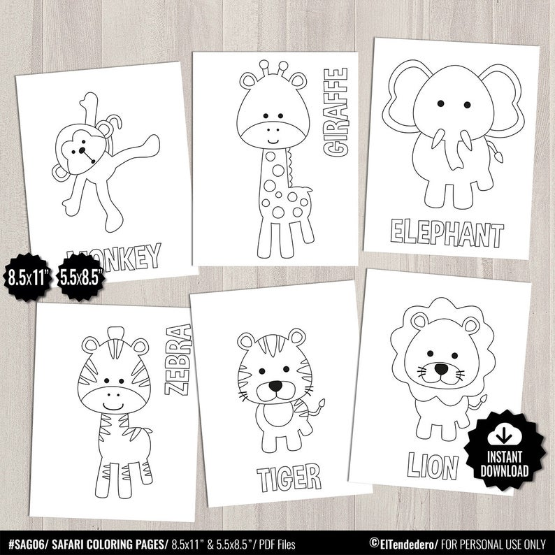 Printable Safari Coloring Pages Kids Party Games Jungle Birthday Favor Animal Coloring Sheet Baby Shower Activities School Teacher Games Kinderparty Spiele Kindergeburtstag Party Spiele Geburtstagstiere