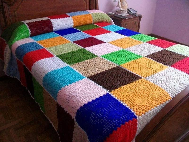 Colcha de ganchillo de bosquedelanas por for Colchas de punto de lana