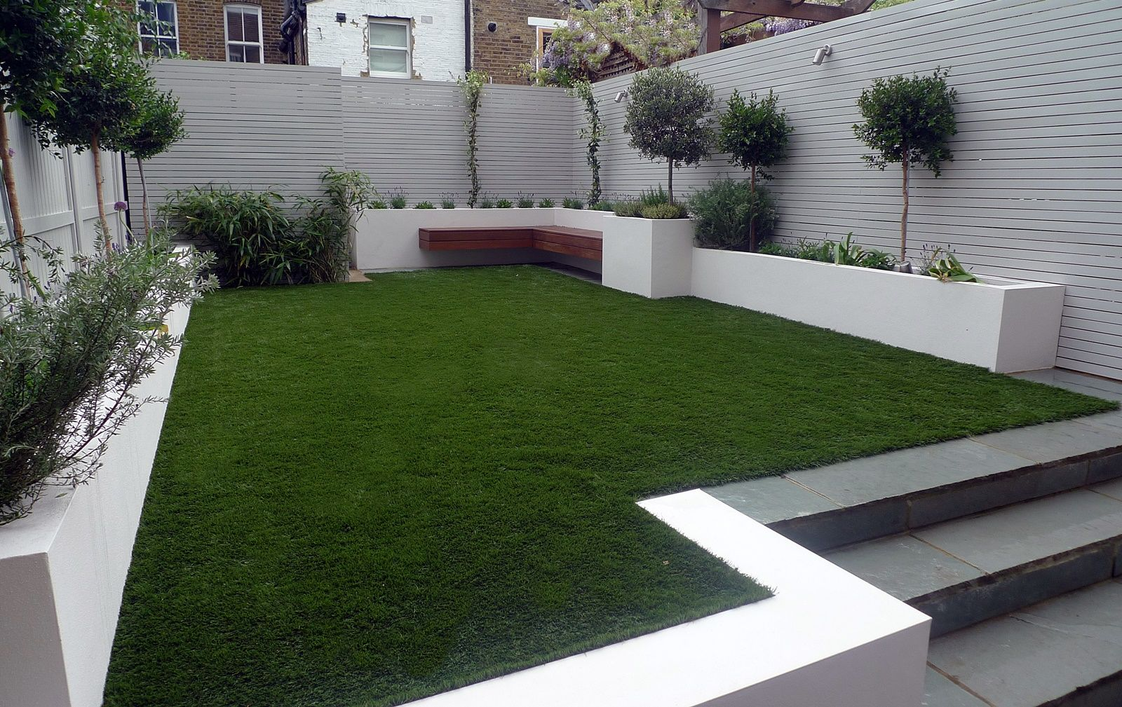 Painted Trellis Ideas Part - 17: Raised-beds-hardwood-slatted-screen-privacy-trellis-fence-painted-grey-artificial-grass-balham-clapham-dulwich-peckham-battersea-wimbledon.jpg  (160u2026