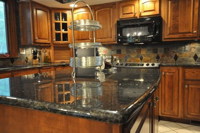 Uba Tuba Granite Countertop And Slate Tile Backsplash Idea   Eclectic    Kitchen   Indianapolis   By Supreme Surface, Inc.