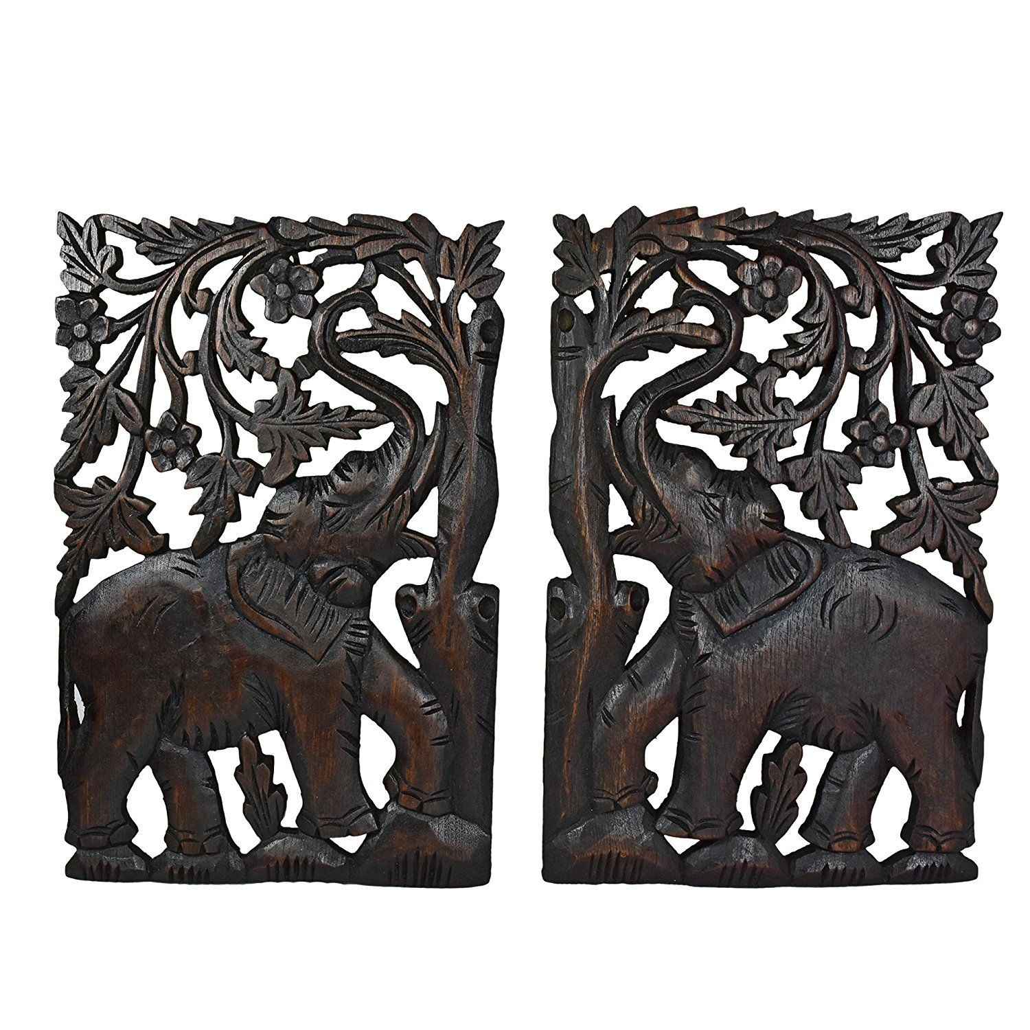 Leisurely couple elephant hand carved wood wall art panel set be