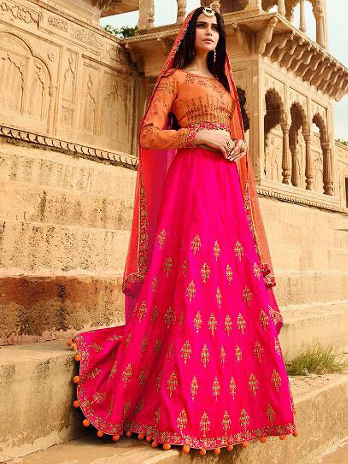 Enticing pink and peach art silk wedding wear designer lehnega choli