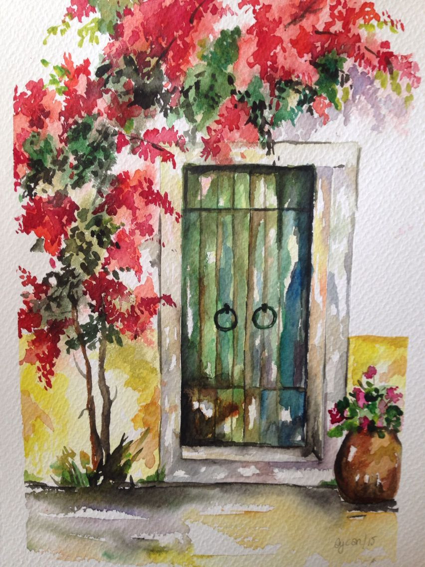 Green Door Art Painting Watercolor Landscape Paintings Canvas