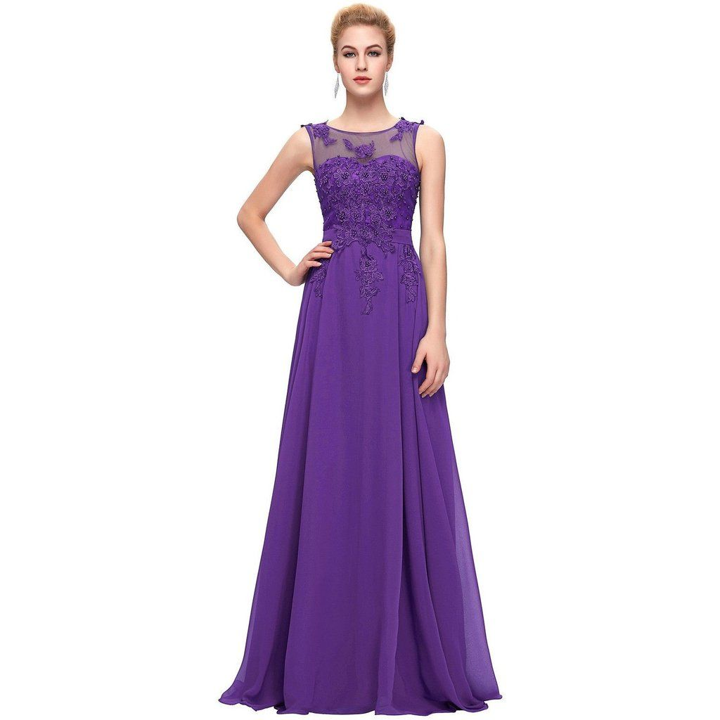 Adele Cadbury Purple Lace Chiffon Beaded Long Prom Evening Dress UK ...
