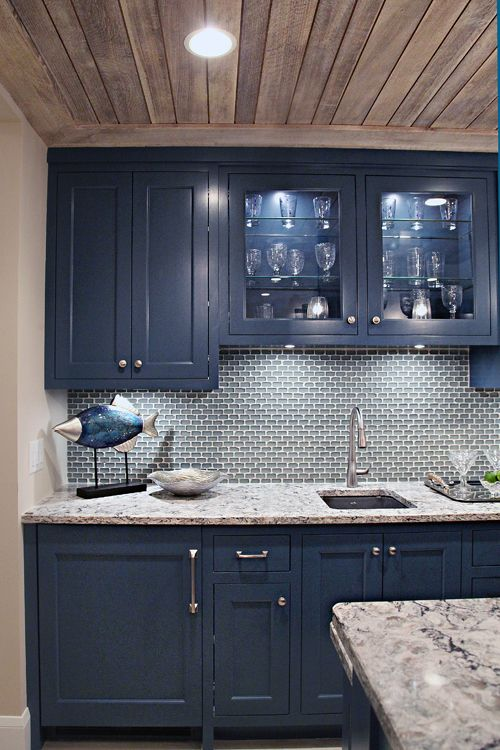 fascinating blue kitchen cabinets | 40MN Showcase Home Tour Love the color of the cabinets ...