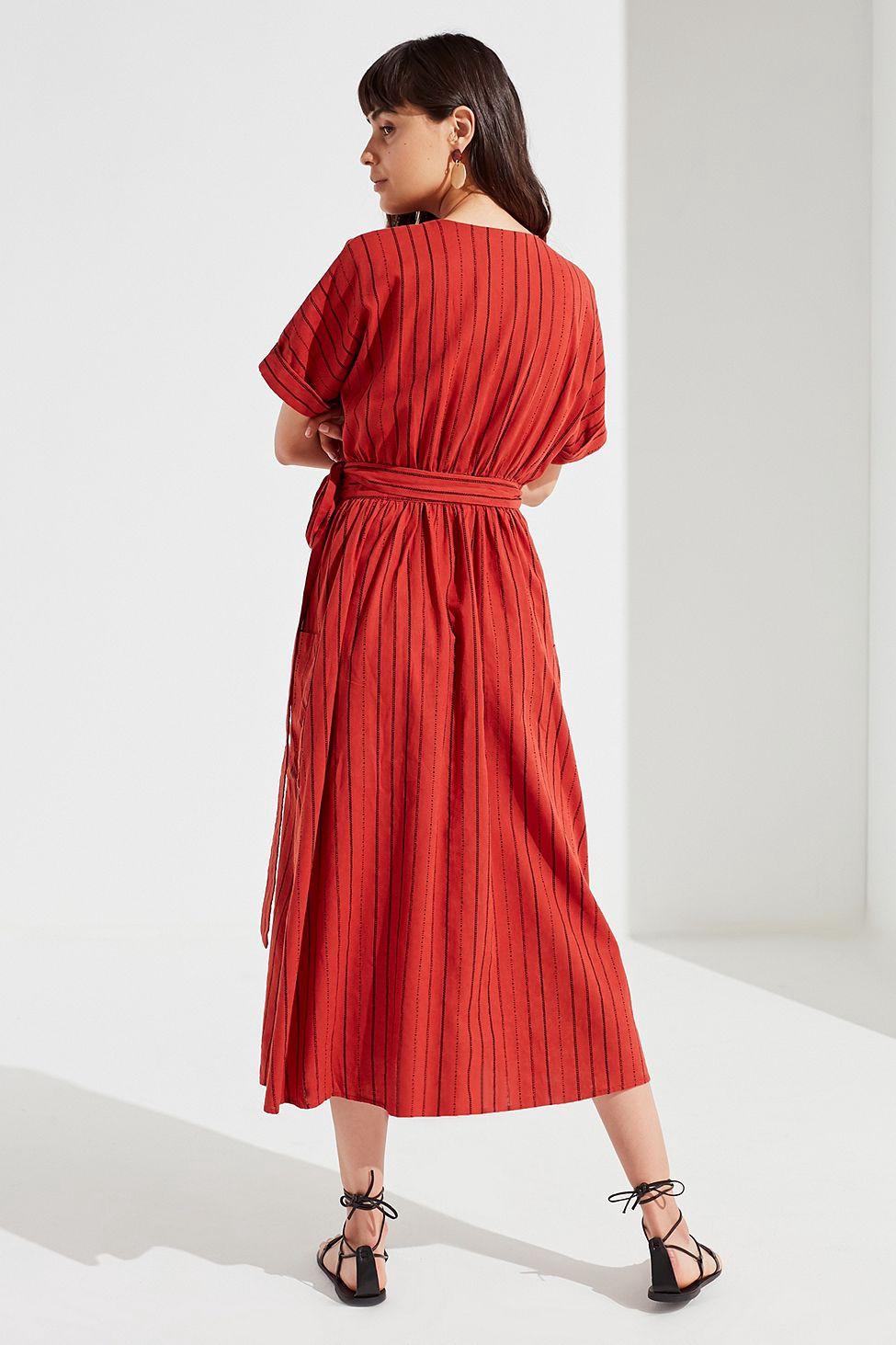 4bb98ab685 Urban Outfitters Uo Gabrielle Linen Midi Wrap Dress - Neutral Multi ...