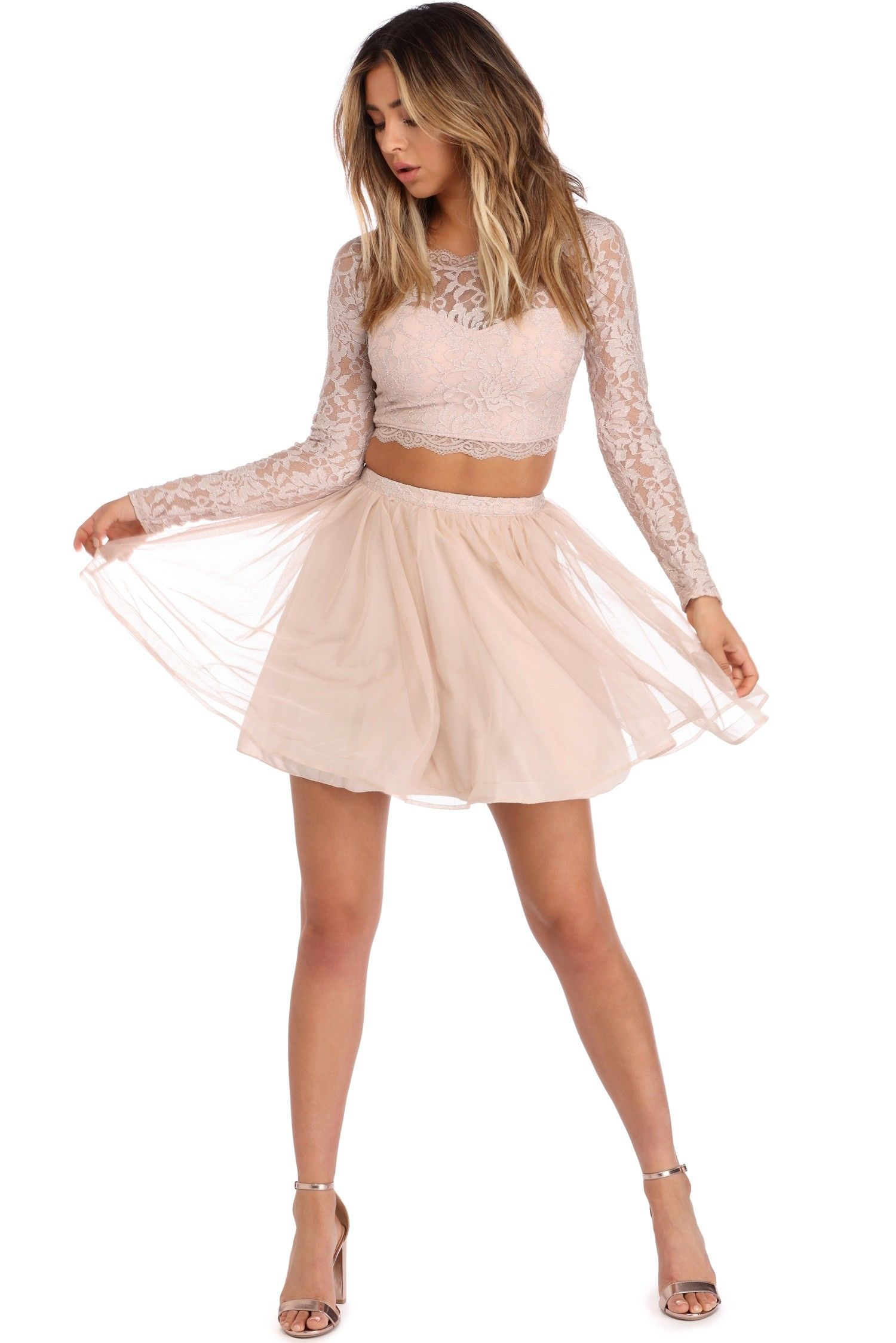 Emily Natural Lace And Mesh Two Piece Dress Dresses Piece Dress Two Piece Dress [ 2247 x 1500 Pixel ]