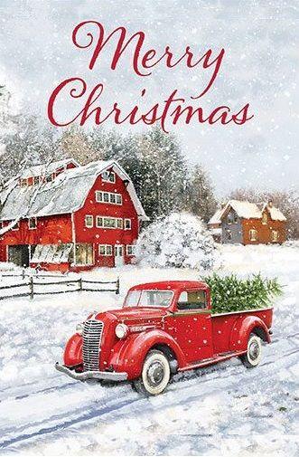 Xmas Red Truck And Barn Ian Gillibrand Christmas Flag Christmas Red Truck Christmas Truck