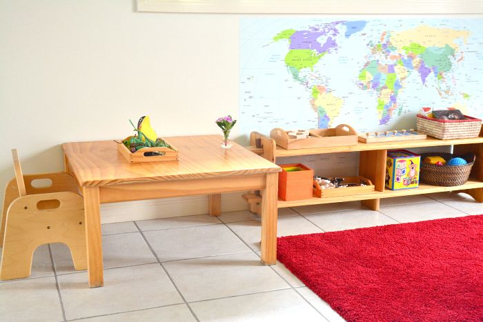 Toddler Shelves at How we Montessori (for our toddler visitor)
