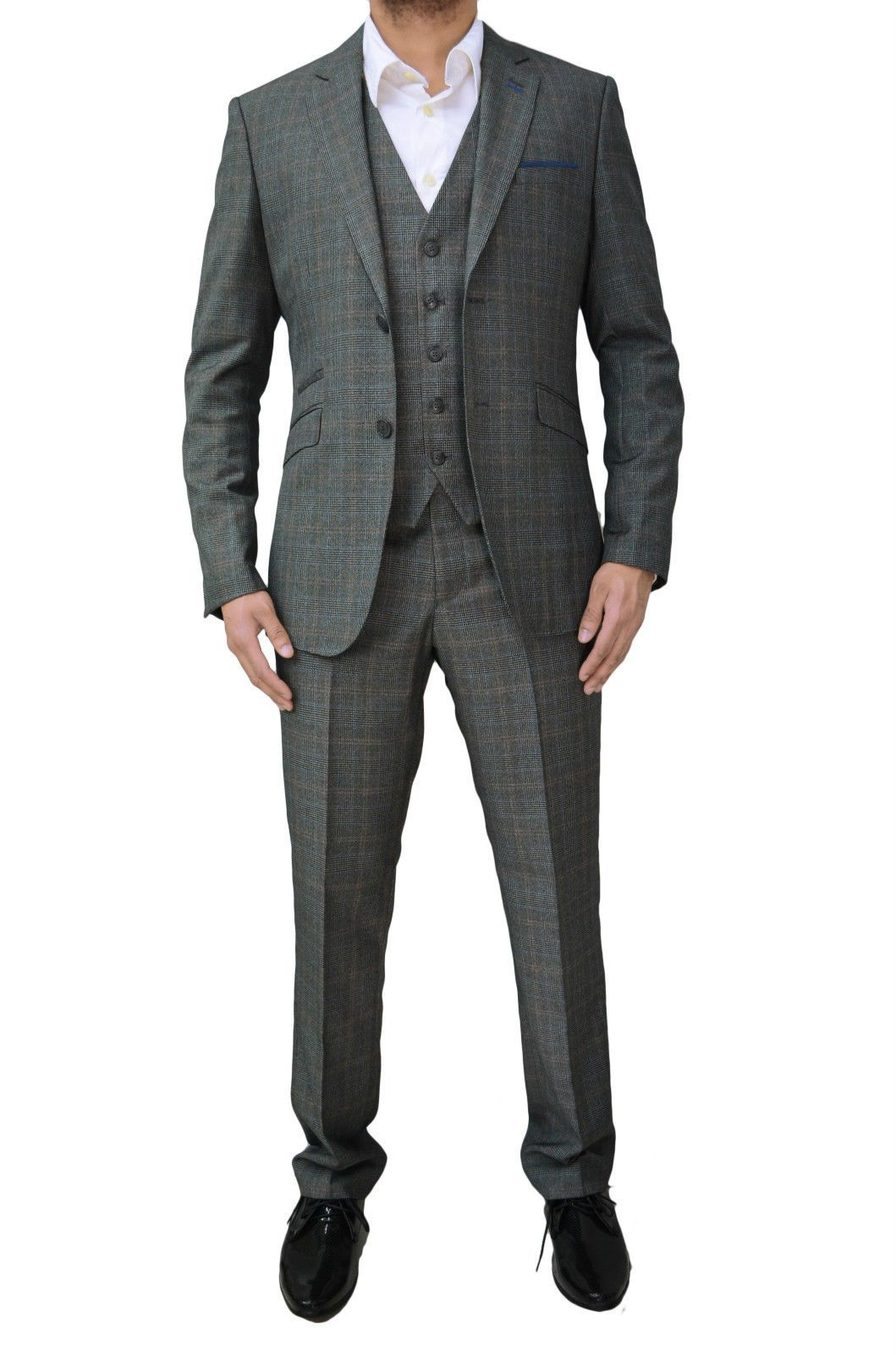Mens Cavani Classic Tweed Summer Wedding 3 Piece Suit Tailored Fit