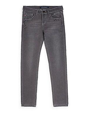 VIGOSS Girl's Leopard-Print Skinny Jeans - Overcast - Size