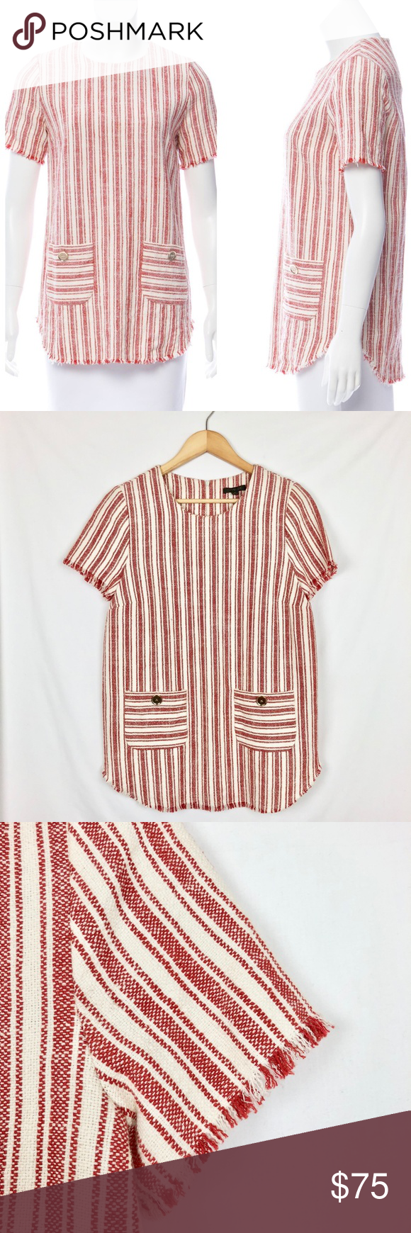Rachel zoe striped short sleeved top sz my posh closet