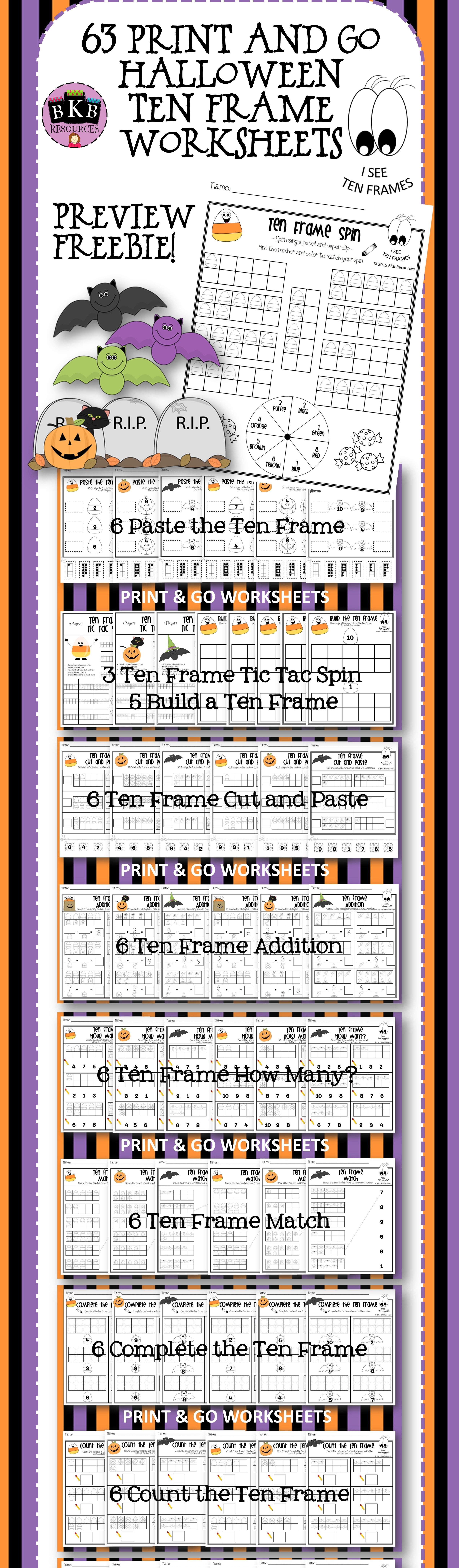 Halloween Ten Frames Halloween Activities No Prep