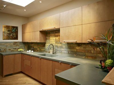 Concrete Countertops With Images Beadboard Backsplash Kitchen