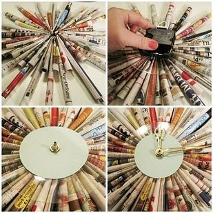Starburst Clock - How to found here http://www.happinessisblog.com/happiness-is/2010/02/diy-junk-mail-starburst-clock.html |  New Uses For Old Newspapers And Magazines
