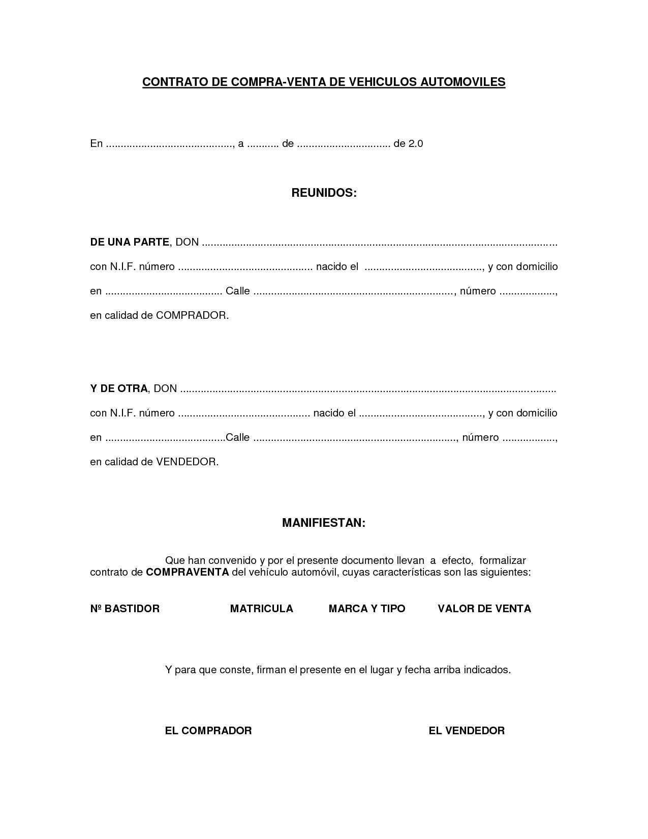 Embarcacion Modelo Contrato Compraventa Vehiculo Automotor Contrato ...
