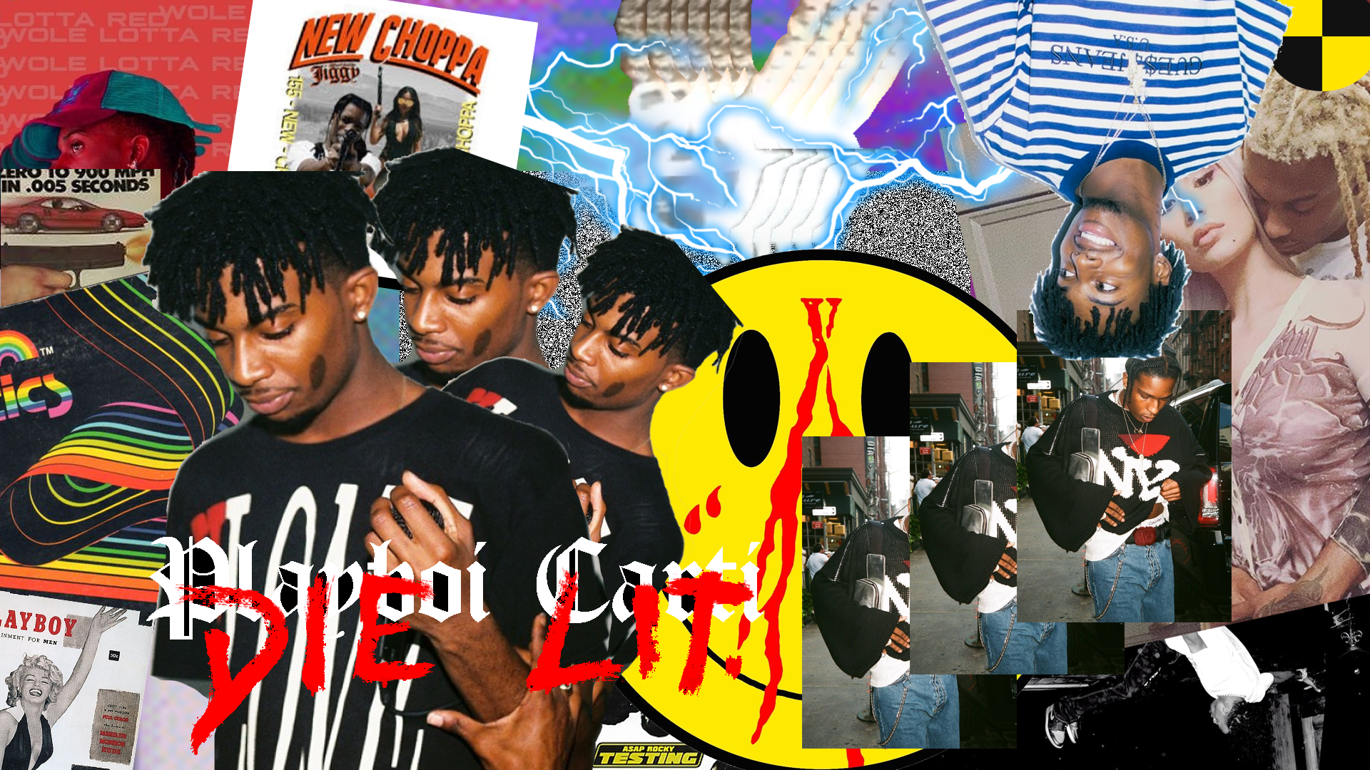 Playboi Carti Collage background/wallpaper. Rap