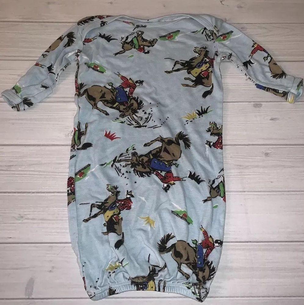 Mad Boy Mad Sky Boutique Baby Cowboy Print Gown Sleeper Blue Horse Sleep  Sack  fashion 73f349efb