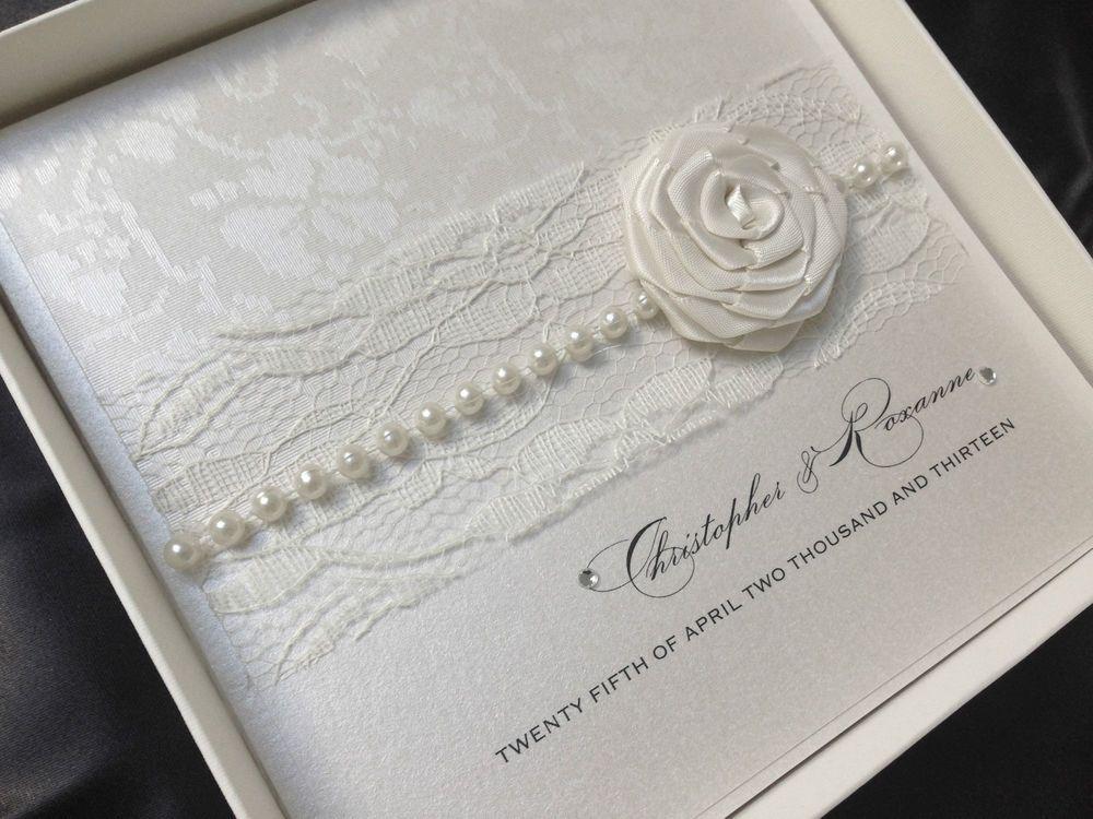 Luxury Handmade Wedding Invitation Personalised Sample Pearl Lace Vintage