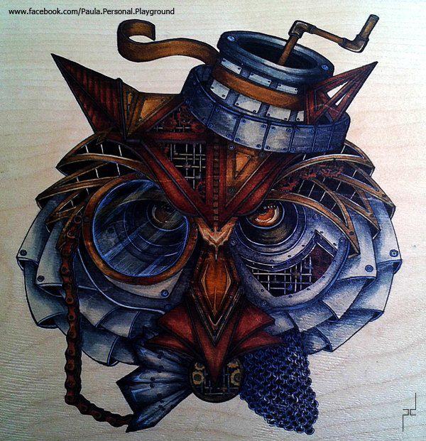 paula duta - | Owls drawing, Animal drawings, Steampunk ...