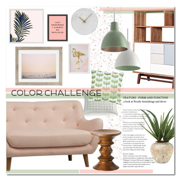Color Challenge:Green and Blush by yukotange on Polyvore featuring polyvore, interior, interiors, interior design, home, home decor, interior decorating, Floyd, Urban Outfitters, John-Richard, House Doctor, Calvin Klein, Marimekko, Louis Poulsen, collorchallenge and greenandblush