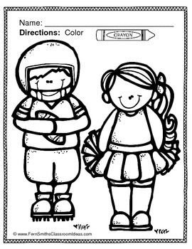 FREE Coloring Pages of Football and Cheerleading Fun