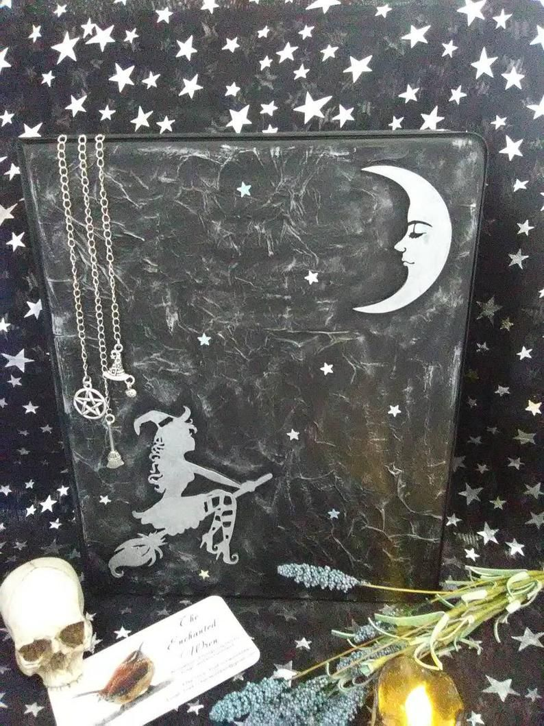 Witch on Broom Binder Journal Grimoire Book of Shadows   Etsy ...