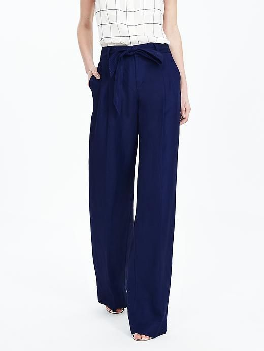 Womens Petite Linen Tie-waist Wide Leg Trousers - 8 - BLUE Lands End Sale Footaction Safe Payment Outlet Perfect Buy Cheap Price IyWKq3