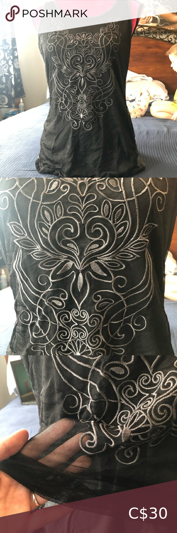 Cynthia Rowley Layered Embroidered Tank Top