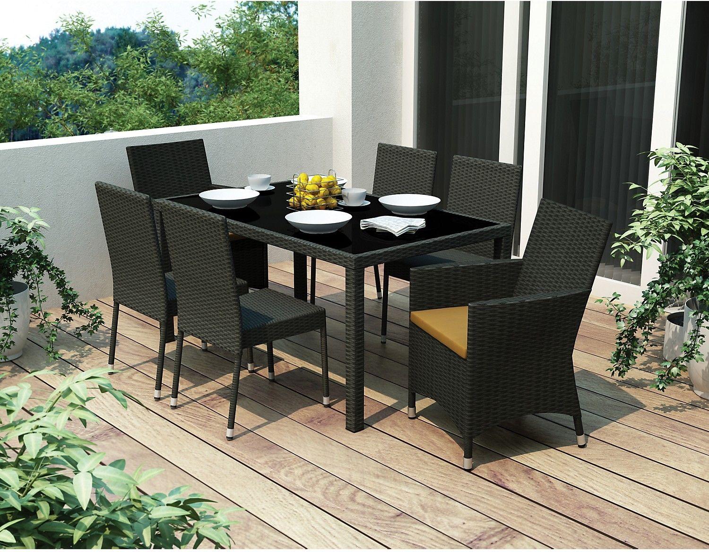 Outdoor Furniture   Park Terrace 7 Piece Patio Dining Set U2013 Black