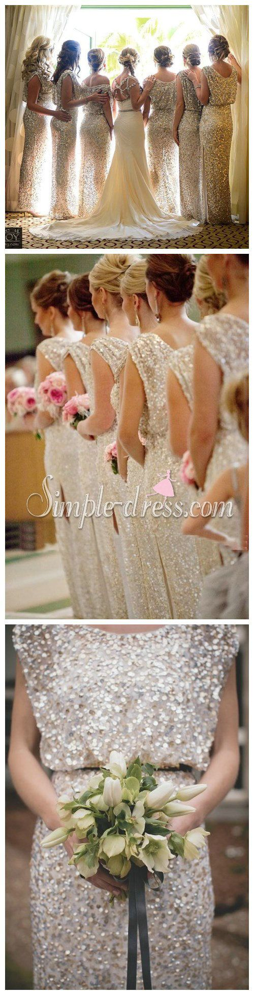 Silver sequin long bridesmaid dress wedding party dress long