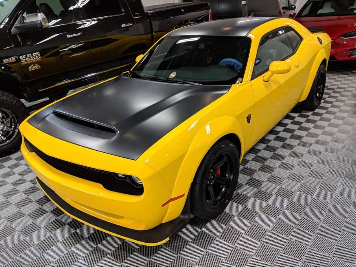 Dodge Challenger Srt Demon Painted In Yellow Jacket W A Matte Black