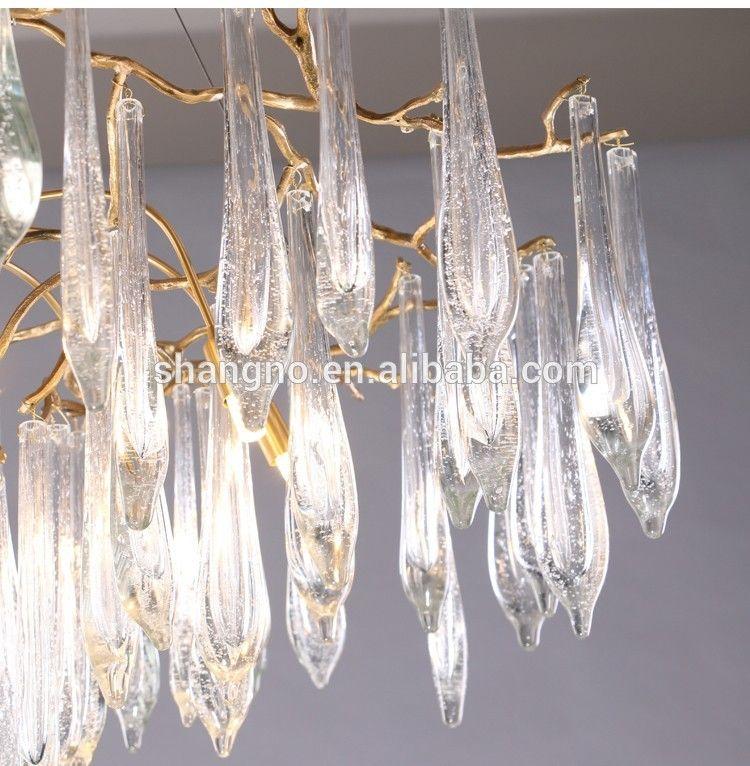 Photo of Living room crystal chandelier aluminum golden pendant light with G9 lighting source