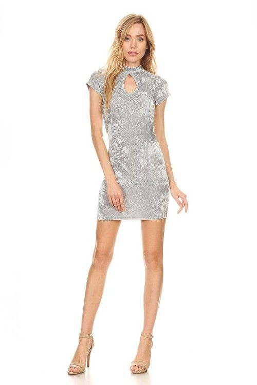 Double Keyhole Body Con Mini Dress: Sage