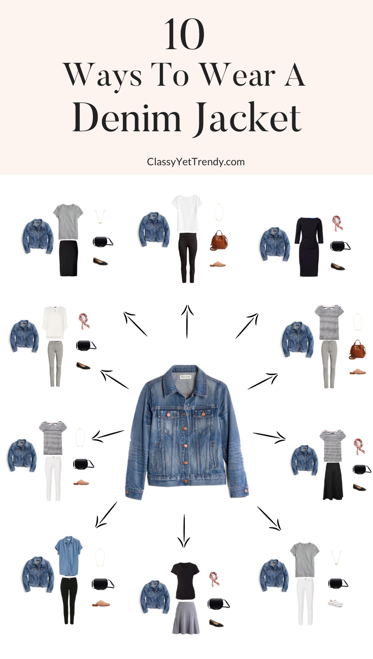 10 Ways To Wear a Denim Jacket #mystyle See 10 ways to wear a denim jacket, from casual to dress, with classic, basic essentials you may have in your ...