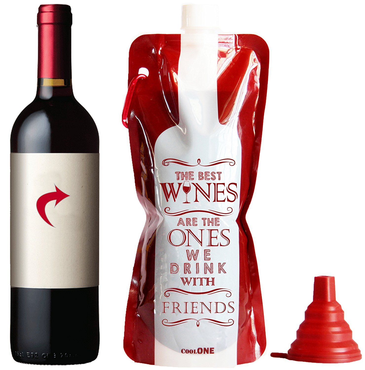 Flexible Unbreakable And Durable Travel Wine Bag 14 98 With Silicone Funnel Gifts For Wine Lovers Unique Wine Gifts Wine Gifts