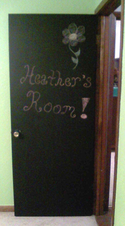 Kid s bedroom door painted with chalkboard paint
