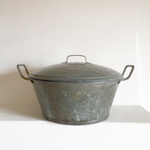 Rare French Vintage Zinc Wash Basin with Lid  by LaVieEnPastis