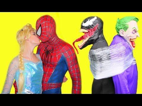 Spiderman Frozen Elsa Vs Venom Vs Joker Spiderman Saves Elsa Superhero Fun Movie In Real Life Spiderman And Frozen Spiderman Good Movies