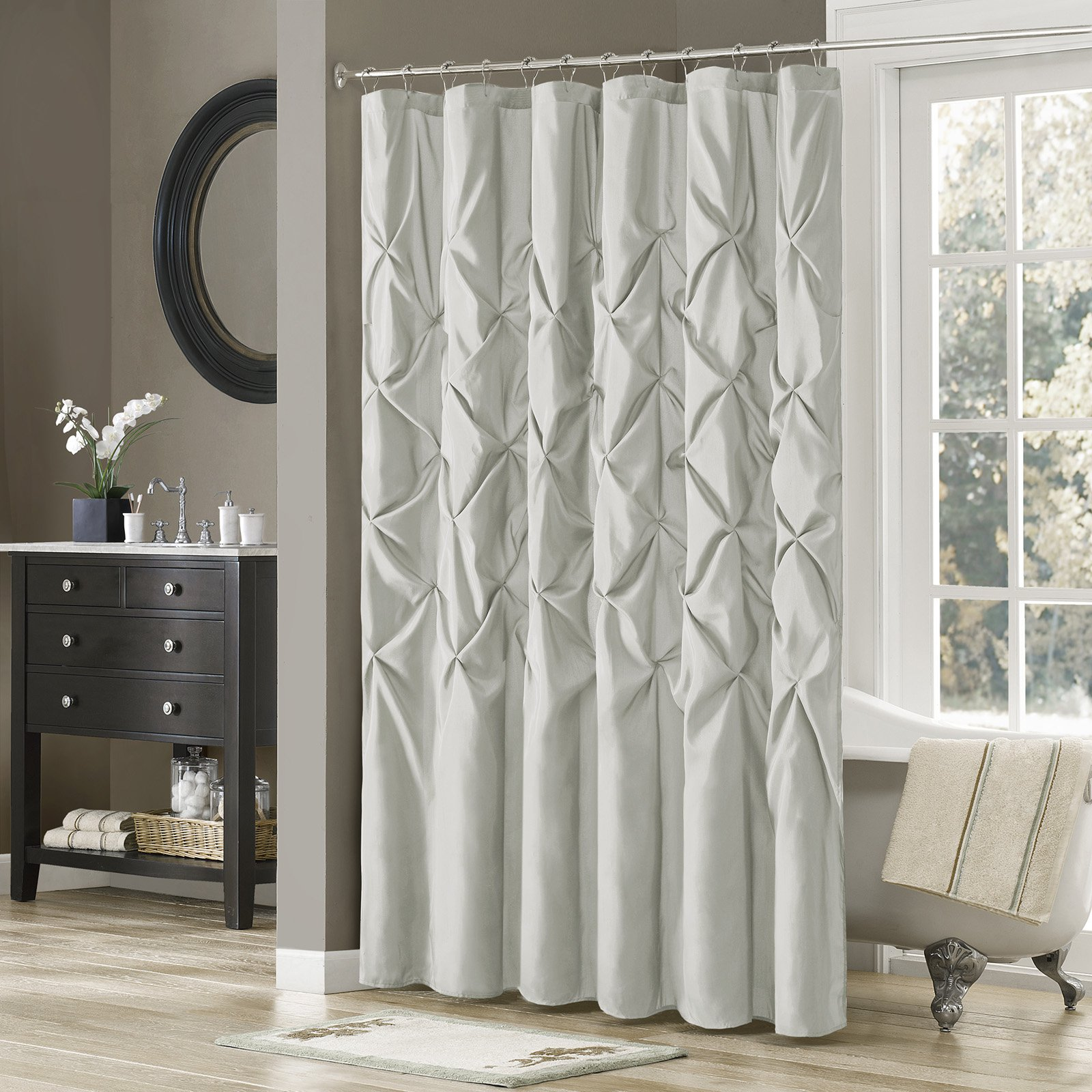 Madison Park Laurel Tufted Faux Silk Shower Curtain Grey Home
