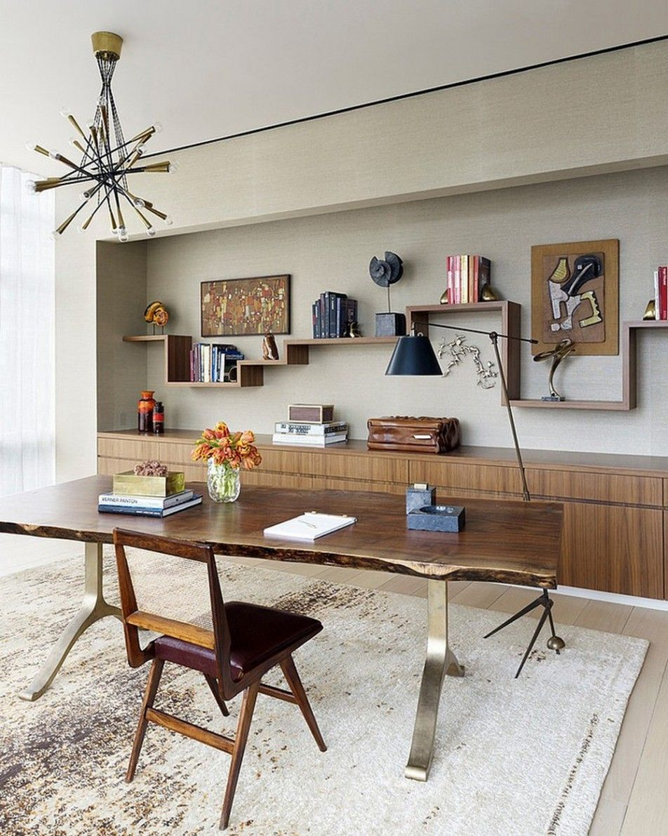 Apartments Sprawling Tribeca Triplex Boasting Mid-Century and Modern Design Elements: ZUO Bosonic 36 Ceiling Lamp With Adesso Boulevard 61 In. Floor Lamp Also TrafficMASTER Bark Hobnail Carpet Tiles