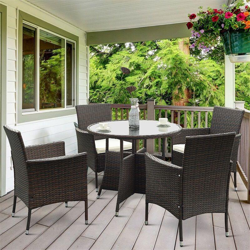 5 Pcs Pe Ratten Outdoor Furniture Set High Quality Eather