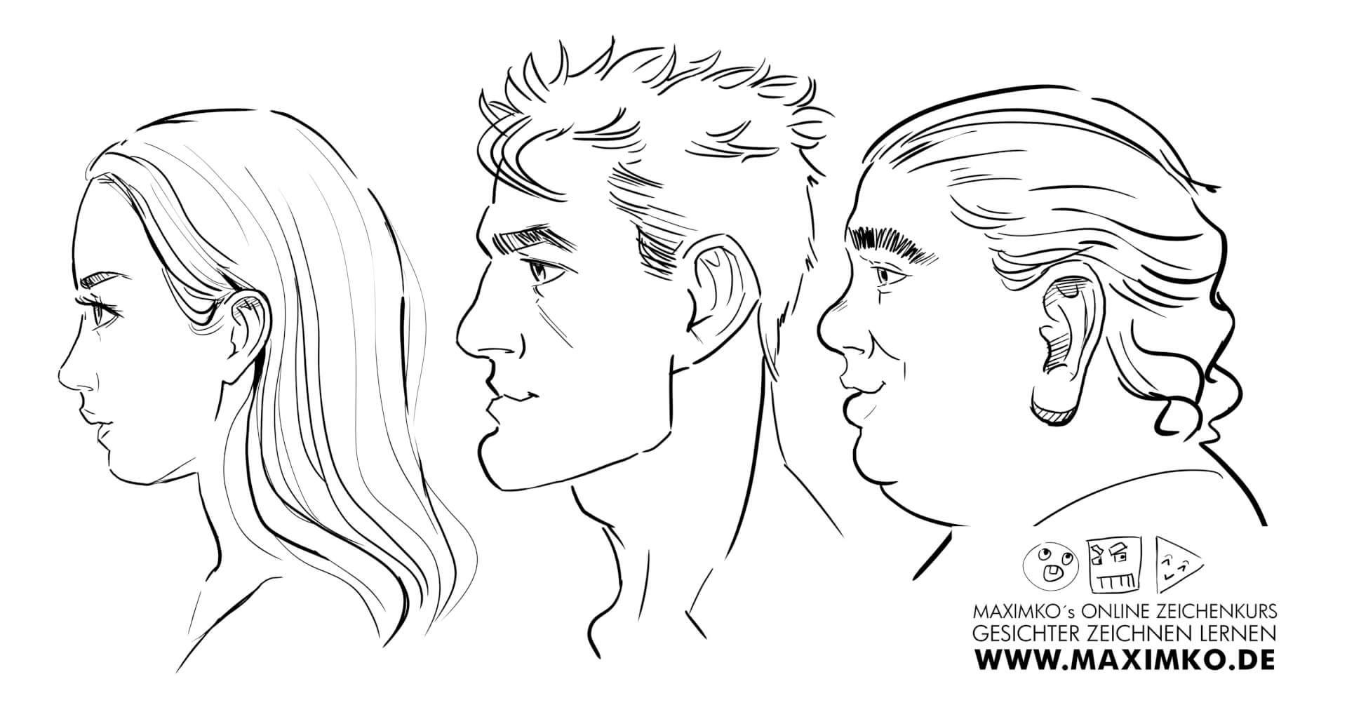 Gesichter Zeichnen Von Der Seite