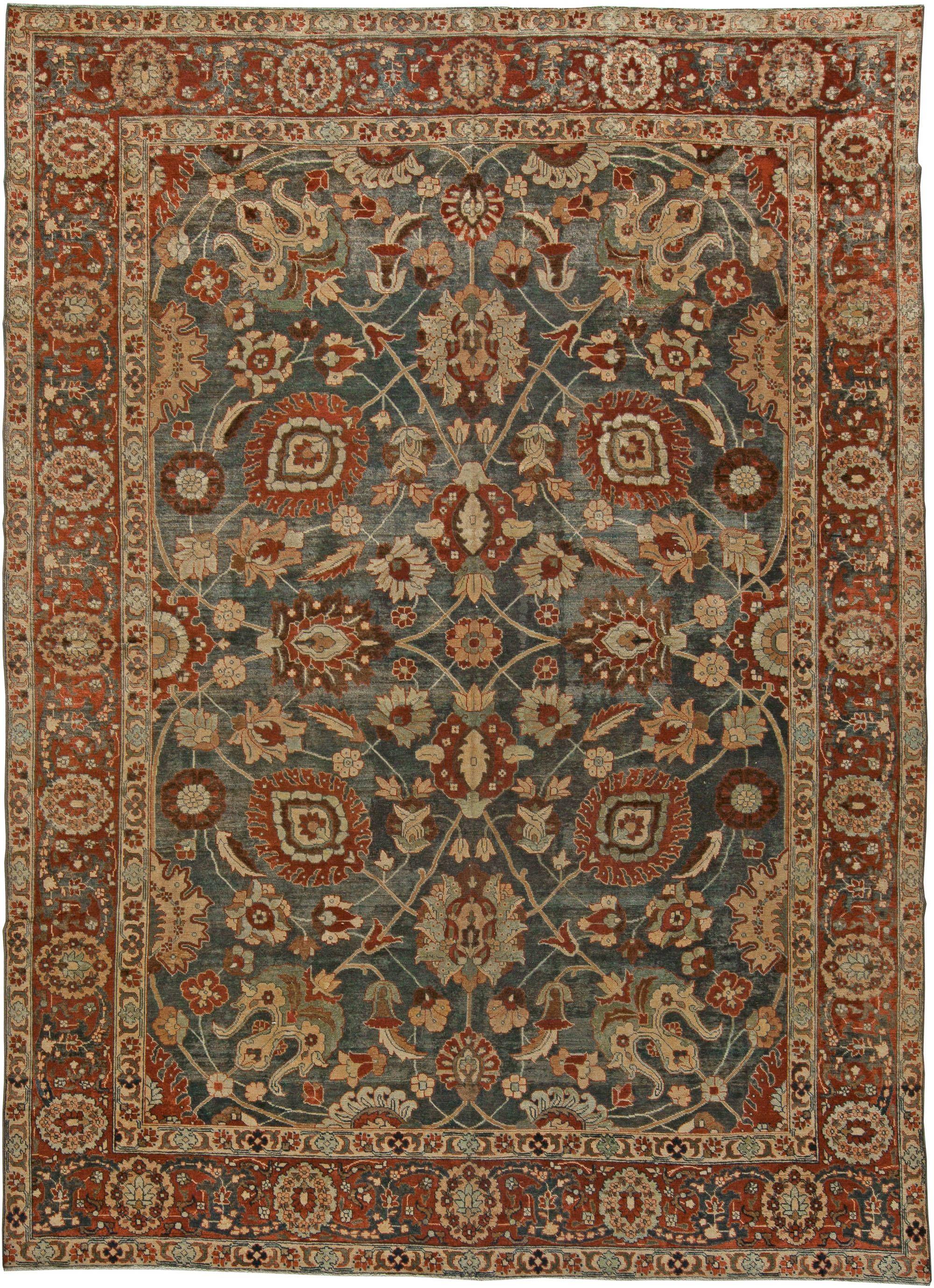Persian Rugs Rug Antique In Beige Blue Color Oriental