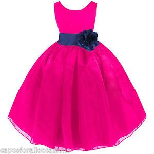 Fuchsia Pink Navy Blue Wedding Organza Flower Girl Dress 12 18M 2 ...