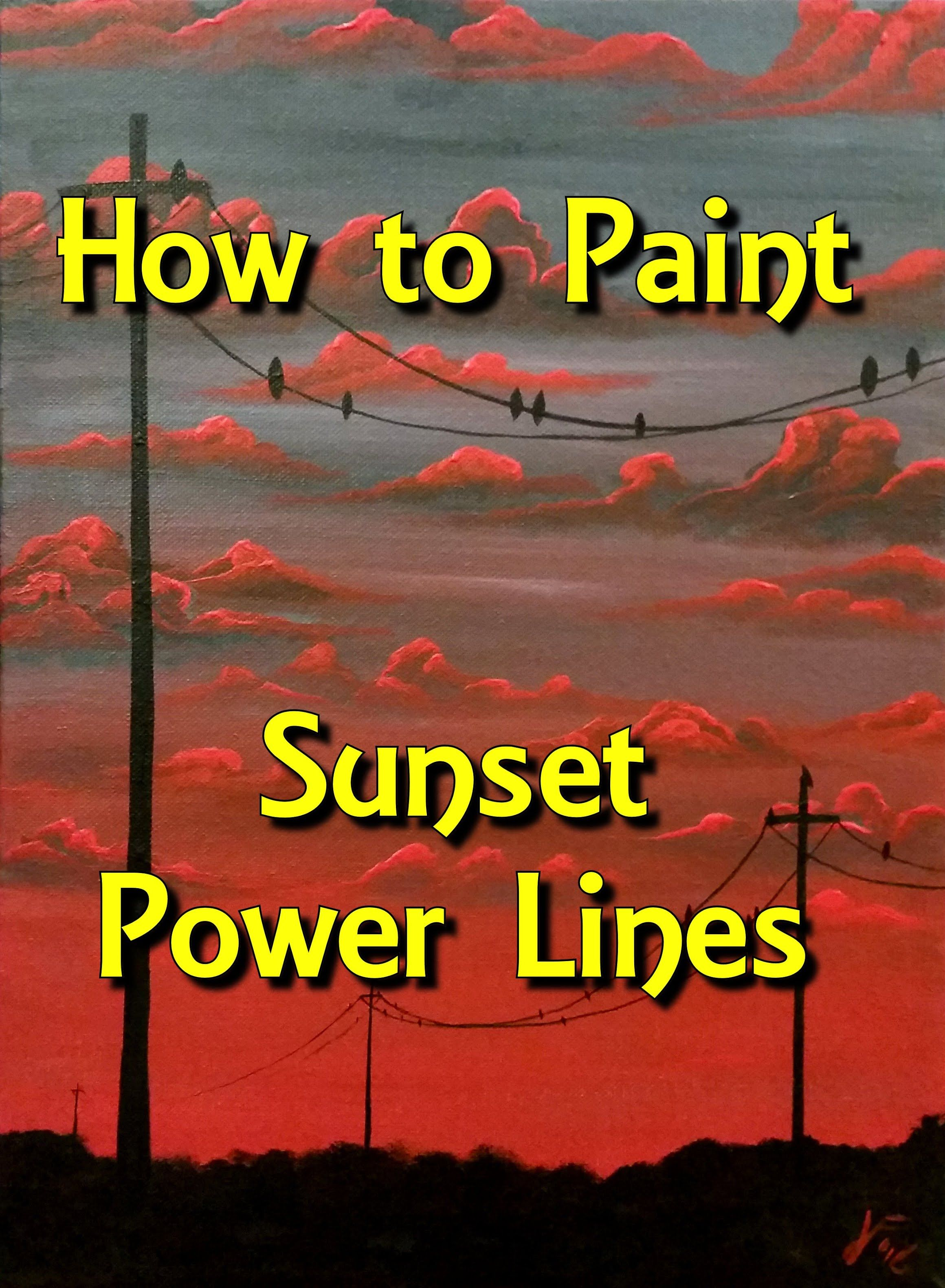 Sunset power lines step by step acrylic painting on canvas for Step by step acrylic painting tutorial