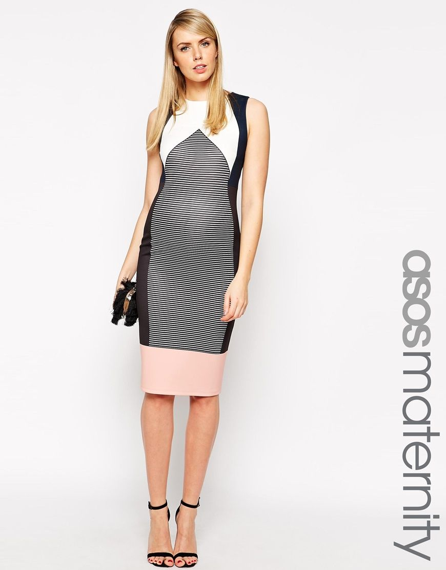 ASOS Maternity Body-Conscious Dress In Stripe And Color Block